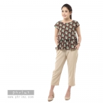 ชุดให้นม Phrimz : Nerine Breastfeeding Top with Tapered Pants - Brown