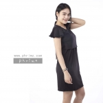 ชุดให้นม Phrimz : Marble Breastfeeding Dress - Black สีดำ