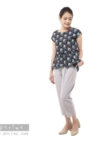 ชุดให้นม Phrimz : Nerine Breastfeeding Top with Tapered Pants - Navy Blue