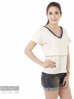 เสื้อให้นม Phrimz : Jasmine Breastfeeding Top - Cream