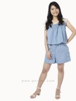ชุดให้นม Phrimz : Zena Breastfeeding Jumpsuit - Light Blue Jeans