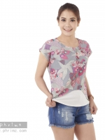 เสื้อให้นม Phrimz : Malee Breastfeeding Top - Gray