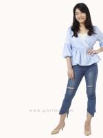 เสื้อให้นม Phrimz : Grace Breastfeeding Top - Sky Blue
