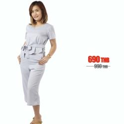 ชุดให้นม Phrimz : Jazzi Breastfeeding Jumpsuit - Gray สีเทา