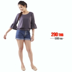 เสื้อให้นม Phrimz : Becky Breastfeeding Top - Dark Gray สีเทาเข้ม