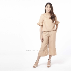 ชุดให้นม Phrimz : Eliza Breastfeeding Top with Culottes - Apricot