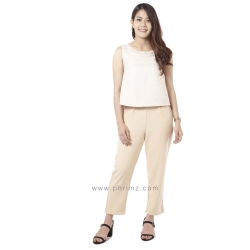 ชุดให้นม Phrimz : Honae Breastfeeding Jumpsuit - Whip Cream