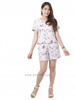 ชุดให้นม Phrimz : Nalynn Breastfeeding Top with Shorts - Lavender