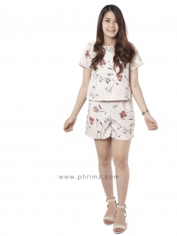 ชุดให้นม Phrimz : Nalynn Breastfeeding Top with Shorts - Peach