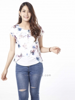 เสื้อให้นม Phrimz : Malee Breastfeeding Top - White Sakura