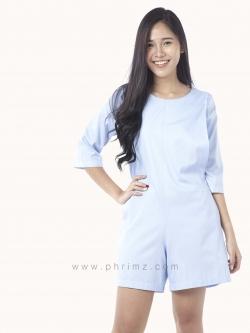 ชุดให้นม Phrimz : Emma Breastfeeding Jumpsuit - Sky Blue