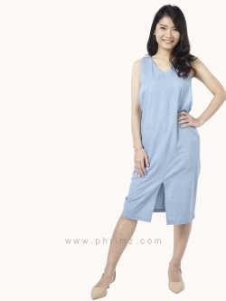 ชุดให้นม Phrimz : Kathy Breastfeeding Dress - Light Blue Jeans