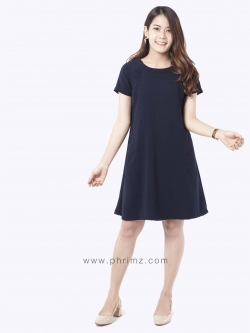 ชุดให้นม Phrimz : Elsa Breastfeeding Dress - Navy Blue