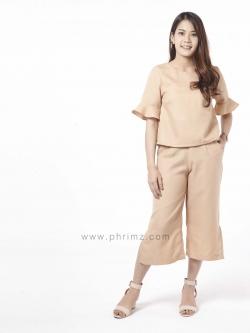 ชุดให้นม Phrimz : Eliza Breastfeeding Top with Culottes - Apricot