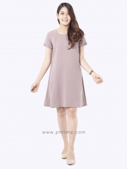 ชุดให้นม Phrimz : Elsa Breastfeeding Dress - Old Rose