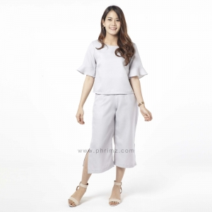 ชุดให้นม Phrimz : Eliza Breastfeeding Top with Culottes - Fog Gray