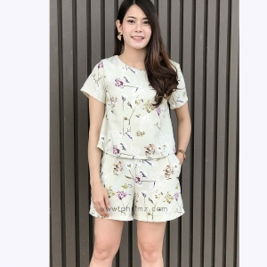 ชุดให้นม Phrimz : Nalynn Breastfeeding Top with Shorts - Olive