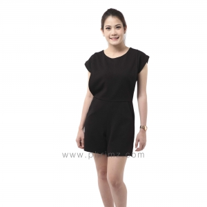 ชุดให้นม Phrimz : Popcorn breastfeeding jumpsuit - Black สีดำ