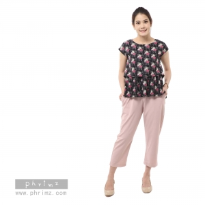 ชุดให้นม Phrimz : Nerine Breastfeeding Top with Tapered Pants - Black