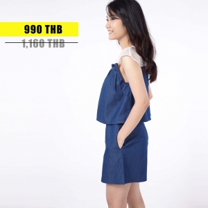 ชุดให้นม Phrimz : Zena Breastfeeding Jumpsuit - Dark Blue Jeans