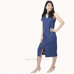 ชุดให้นม Phrimz : Kathy Breastfeeding Dress - Dark Blue Jeans