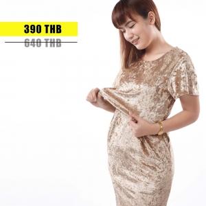 ชุดให้นม Phrimz : Velvet Breastfeeding Dress - Gold สีทอง