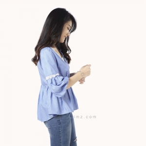 เสื้อให้นม Phrimz : Grace Breastfeeding Top - Royal Blue