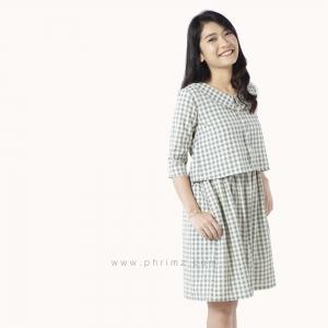 ชุดให้นม Phrimz : Kiyomi Breastfeeding Dress - Green สีเขียว