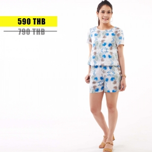 ชุดให้นม Phrimz : Nalynn Breastfeeding Top with Shorts - Blue Floral